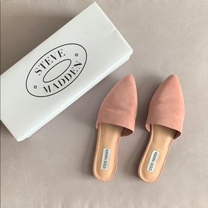 Steve Madden Trace Suede Mules Pink